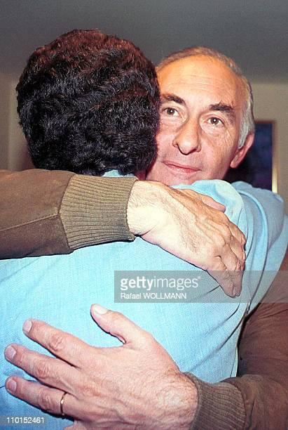 Fernando De La Rua wins presidential elections in Argentina on October 24 1999 Fernando De La Rua embraces Chacho Alvarez vice president