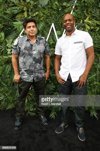 Fernando Escovar and Earl Crowe of 'Hollywood I'm Sorry' attend Ashley North's Launch of 'AN STYLE' Candles at IceLink Boutique and Rooftop Lounge on...