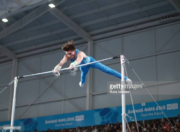 Fernando Espindola of Argentina competes in Men's Horizontal Bar Qualification during Day 4 of Buenos Aires 2018 Youth Olympic Games at America...