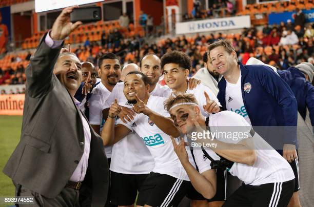 Fernando Fiore takes a selfie with Team Nash during the Kick In For Houston Charity Soccer Match at BBVA Compass Stadium on December 16 2017 in...