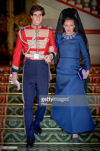 Fernando FitzJames Stuart and Matilde Solis attend the wedding of Fernando FitzJames Stuart and Sofia Palazuelo at Liria Palace on October 6 2018 in...
