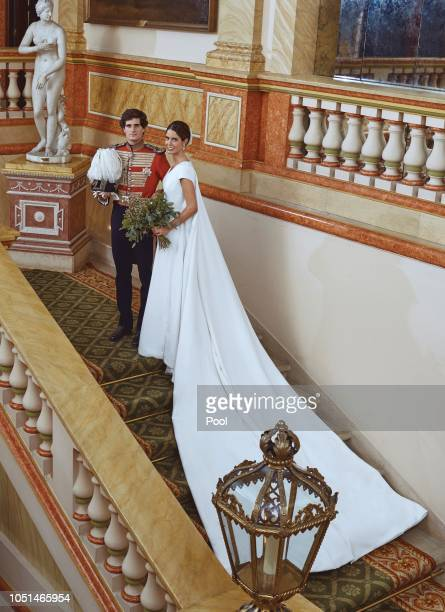 Fernando FitzJames Stuart and Sofia Palazuelo are seen at their wedding on October 6 2018 in Madrid Spain