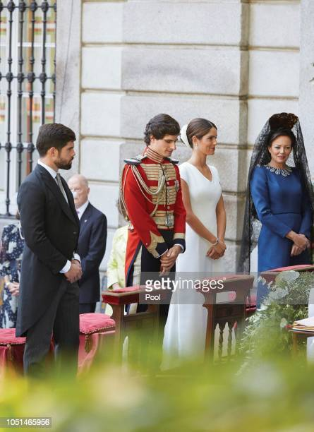 Fernando FitzJames Stuart and Sofia Palazuelo attend the wedding of Fernando FitzJames Stuart and Sofia Palazuelo at Liria Palace on October 6 2018...
