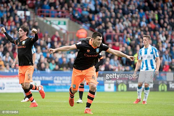 Fernando Forestieri of Sheffield Wednesday celebrates after scoring the opening goal from a penalty during the Sky Bet Championship match between...