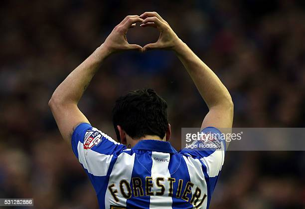 Fernando Forestieri of Sheffield Wednesday celebrates scoring before the goal was disallowed during the Sky Bet Championship Play Off First Leg...