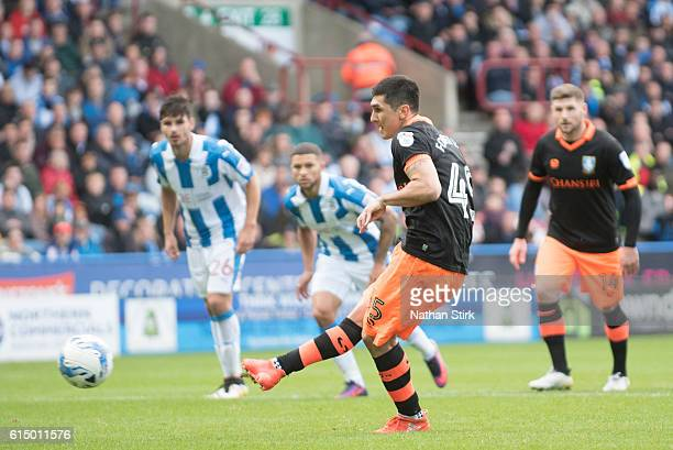 Fernando Forestieri of Sheffield Wednesday scores a penalty during the Sky Bet Championship match between Huddersfield Town and Sheffield Wednesday...