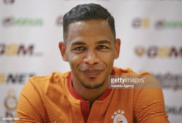 Fernando Francisco Reges of Galatasaray holds a press conference ahead of a practice match between Galatasaray and Hertha Berlin during Galatasaray's...