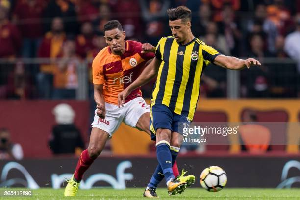 Fernando Fransisco Reges of Galatasaray SK Nabil Dirar of Fenerbahce SK during the Turkish Spor Toto Super Lig football match between Galatasaray SK...