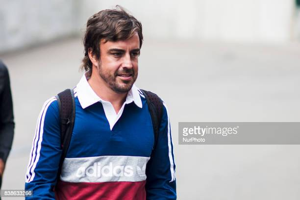 Fernando from Spain from McLaren Honda during the Formula One Belgian Grand Prix at Circuit de SpaFrancorchamps on August 24 2017 in Spa Belgium
