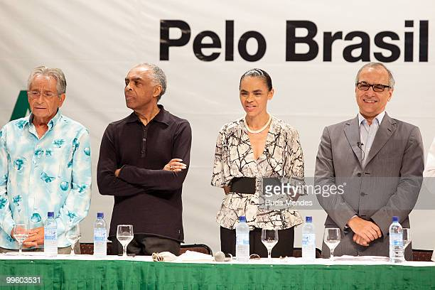 Fernando Gabeira, Gilberto Gil, PV Pre-Candidate Marina Silva and pre-candidate for vice president Guilherme Leal during a conference to launch...
