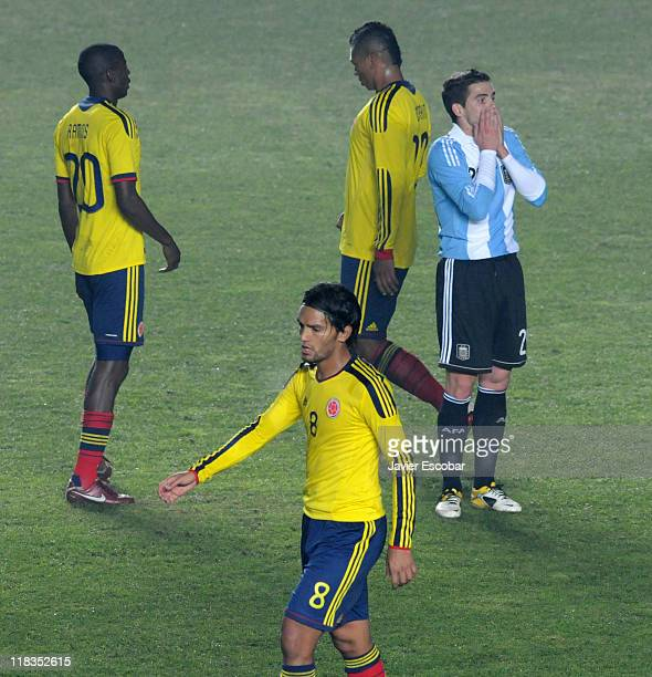 Fernando Gago from Argentina reacts after a match tied in 0 between Argentina and Colombia as part of the group A of the Copa America 2011 at...
