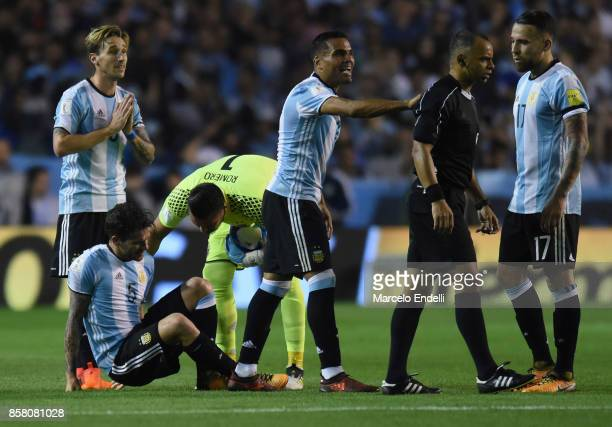 Fernando Gago of Argentina complaints after an injury during a match between Argentina and Peru as part of FIFA 2018 World Cup Qualifiers at Estadio...