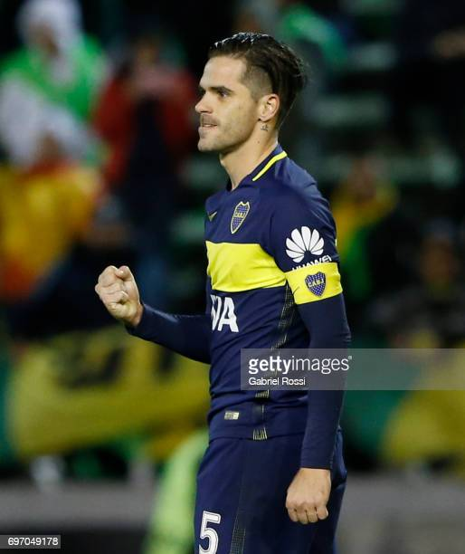 Fernando Gago of Boca Juniors celebrates after scoring the third goal of his team through a penalty kick during a match between Aldosivi and Boca...