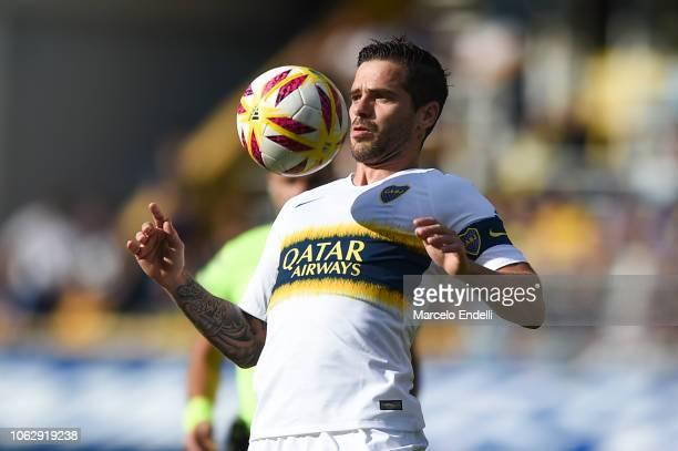 Fernando Gago of Boca Juniors chests the ball during a match between Boca Juniors and Patronato as part of Superliga 2018/19 at Estadio Alberto J...