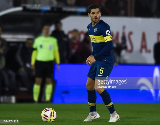 Fernando Gago of Boca Juniors drives the ball during a match between Huracan and Boca Juniors as part of Superliga Argentina 2018/19 at Estadio Tomas...