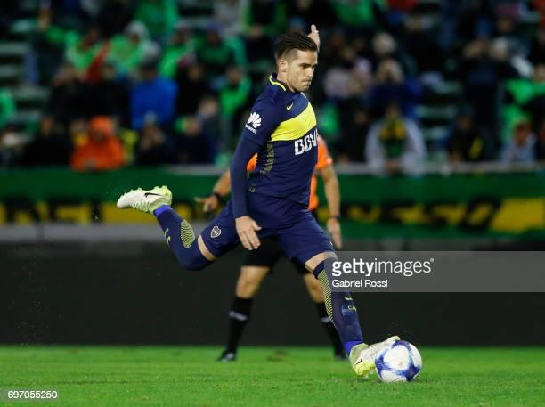 Fernando Gago of Boca Juniors kicks a penalty to score the third goal of his team during a match between Aldosivi and Boca Juniors as part of Torneo...