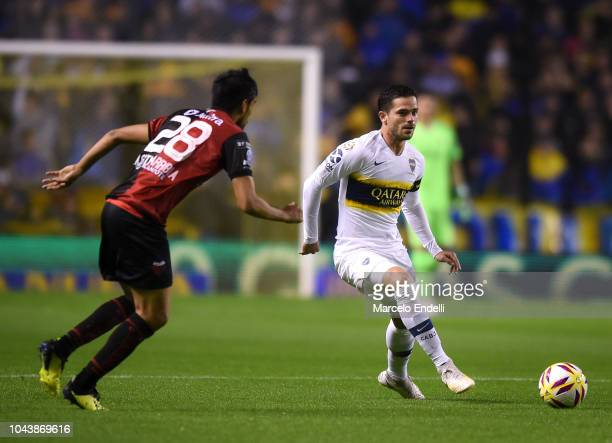 Fernando Gago of Boca Juniors kicks the ball during a match between Boca Juniors and Colon as part of Superliga 2018/19 at Estadio Alberto J Armando...