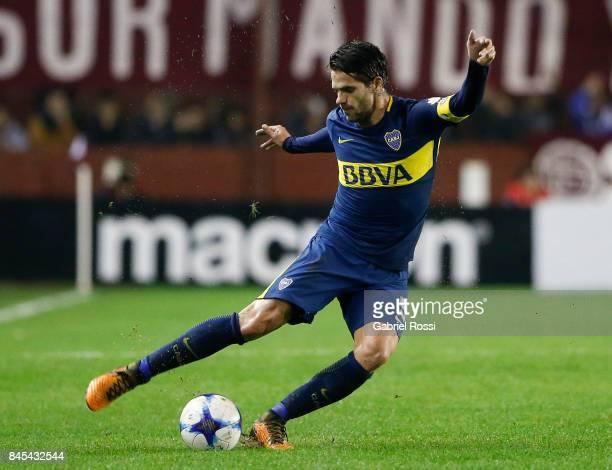 Fernando Gago of Boca Juniors kicks the ball during a match between Lanus and Boca Juniors as part of the Superliga 2017/18 at Ciudad de Lanus...