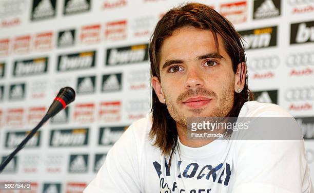 Fernando Gago of Real Madrid gives a press conference after a training session at Valdebebas on July 27 2009 in Madrid Spain