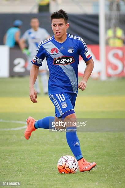 Fernando Gaibor of Emelec drives the ball during a match between Emelec and Pumas UNAM as part of Group 7 of Copa Bridgestone Libertadores 2016 at...