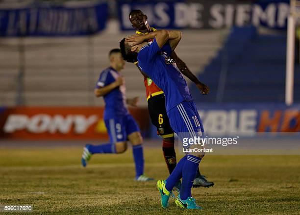 Fernando Gaibor of Emelec reacts after he fails a goal during a match between Emelec and Deportivo Cuenca as part of Campeonato Ecuatoriano de Futbol...