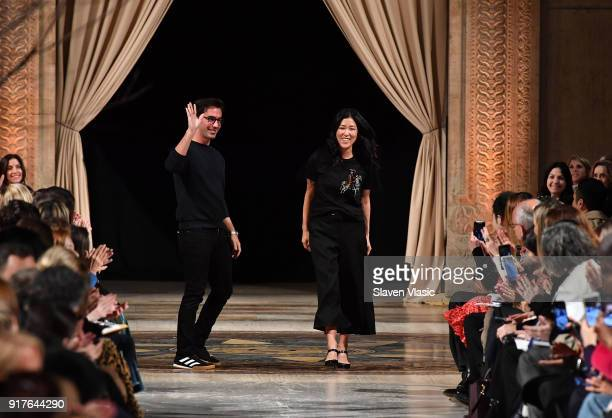 Fernando Garcia and Laura Kim cocreative directors of Oscar de la Renta walk the runway at Oscar De La Renta fashion show during February 2018 New...
