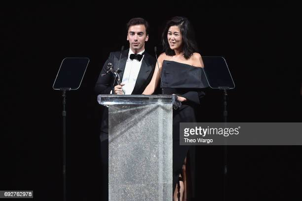 Fernando Garcia and Laura Kim speak onstage during the 2017 CFDA Fashion Awards at Hammerstein Ballroom on June 5 2017 in New York City