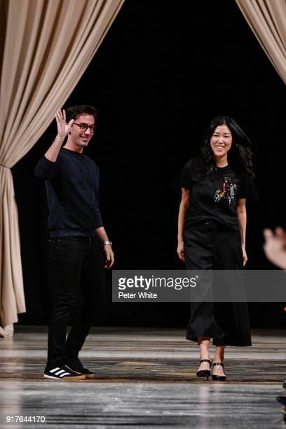 Fernando Garcia and Laura Kim walk the runway at Oscar De La Renta fashion show during February 2018 New York Fashion Week at The Cunard Building on...