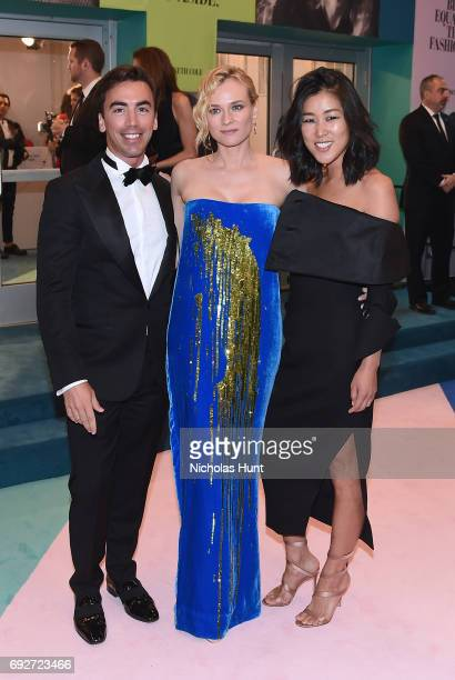 Fernando Garcia Diane Kruger and Laura Kim attend the 2017 CFDA Fashion Awards at Hammerstein Ballroom on June 5 2017 in New York City
