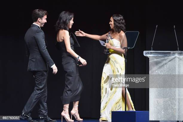 Fernando Garcia Laura Kim and Kerry Washington speak onstage during the 2017 CFDA Fashion Awards at Hammerstein Ballroom on June 5 2017 in New York...