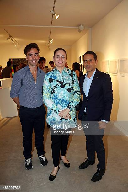Fernando Garcia Patricia Ruiz Haely and Gabriel RiveraBarraza attend the opening reception for A False Horizon Curated By PEANA Projects at the 18th...