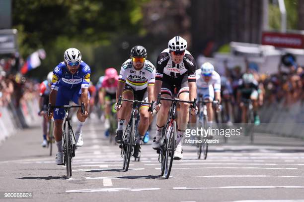 Fernando Gaviria of Colombia and Team QuickStep Floors and Max Walscheid of Germany and Team Sunweb sprint stage seven of the 13th Amgen Tour of...