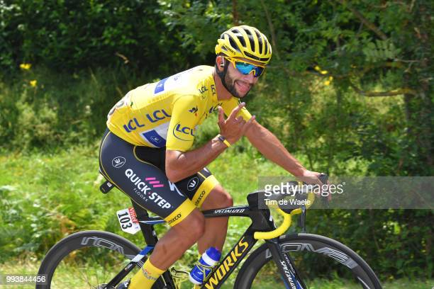 Fernando Gaviria of Colombia and Team QuickStep Floors Yellow Leader Jersey / during the 105th Tour de France 2018 Stage 2 a 1825km stage from...