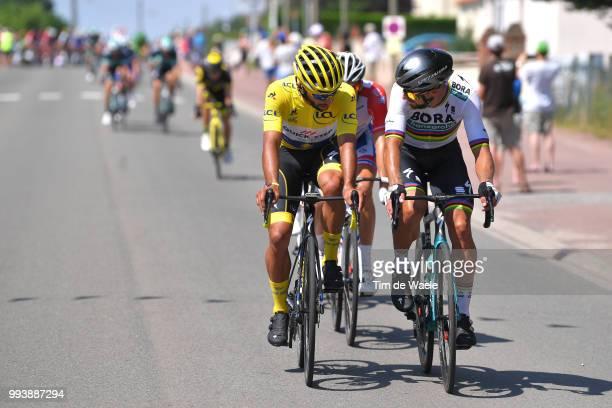 Fernando Gaviria of Colombia and Team QuickStep Floors Yellow Leader Jersey / Peter Sagan of Slovakia and Team Bora Hansgrohe / Arnaud Demare of...