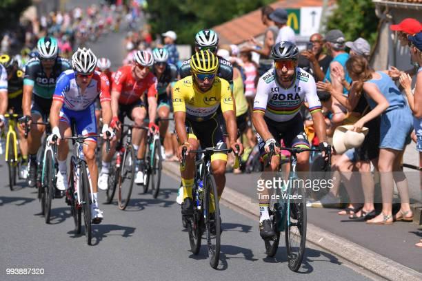 Fernando Gaviria of Colombia and Team Quick-Step Floors Yellow Leader Jersey / Peter Sagan of Slovakia and Team Bora Hansgrohe / Arnaud Demare of...