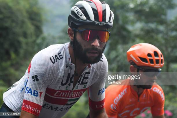 Fernando Gaviria of Colombia and UAE-Team Emirates, and Jakub Mareczko of Italy and CCC Pro Team, seen at 300m of the finish line of the fourth...
