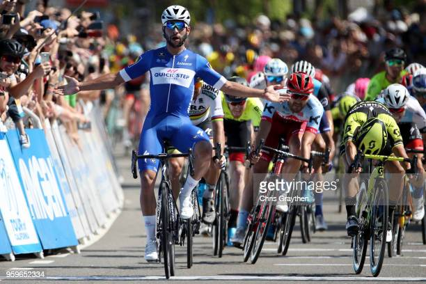 Fernando Gaviria of Colombia riding for Team QuickStep Floors celebrates after winning stage five of the 13th Amgen Tour of California a 176km stage...