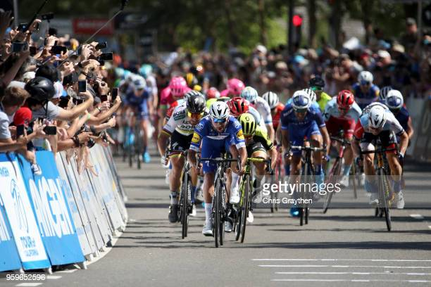 Fernando Gaviria of Colombia riding for Team QuickStep Floors Peter Sagan of Slovakia riding for Team Bora Hansgrohe Caleb Ewan of Australia riding...