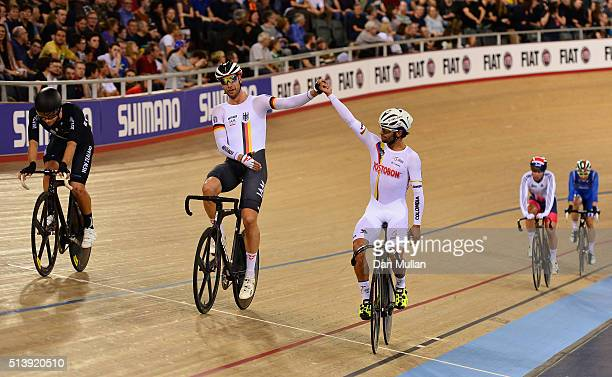 Fernando Gaviria Rendon of Columbia celebrates winning the Men's Omnium with second placed Roger Kluge of Germany during Day Four of the UCI Track...
