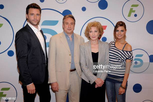 Fernando Gil Juanjo Puigcorbe Marisa Paredes and Amaia Salamanca attend Felipe and Letizia Tv movie press conference at Tele 5 studios on May 24 2010...