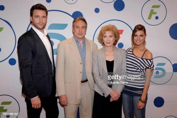 Fernando Gil, Juanjo Puigcorbe, Marisa Paredes and Amaia Salamanca attend Felipe and Letizia Tv movie press conference at Tele 5 studios on May 24,...