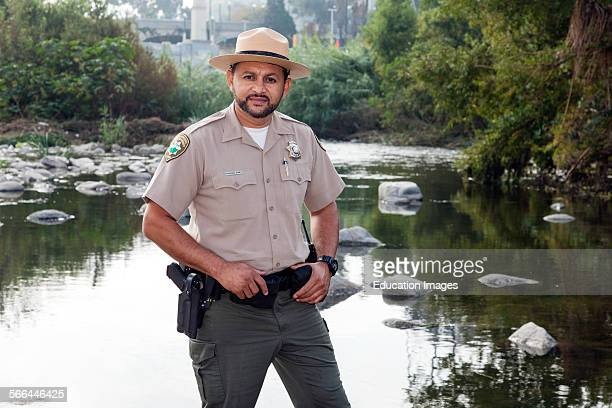 Fernando Gomez, Chief Ranger for the MRCA, Mountains, Recreation and Conservation Authority, Raphael Sbarge films FoLAR documentary along banks of...