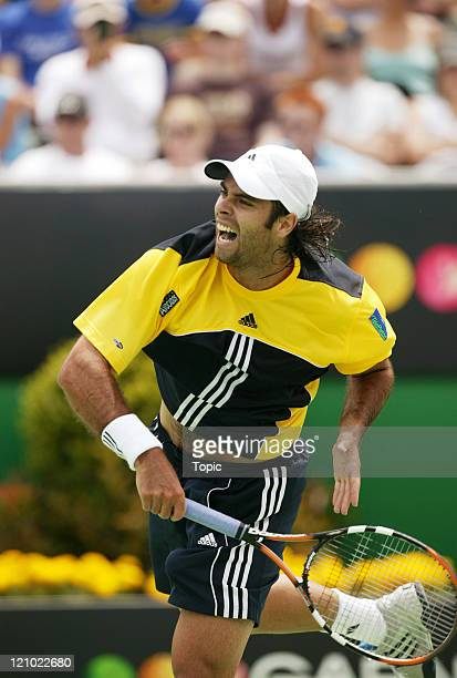 Fernando Gonzales in action against David Nalbandian during the third round of the Australian Open at Melbourne Park in Melbourne, Australia on...