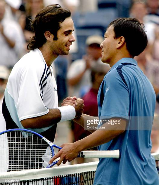 Fernando Gonzales shakes hands with Michael Chang after defeating him in the last match of Chang's career Chang announced earlier this year that he...