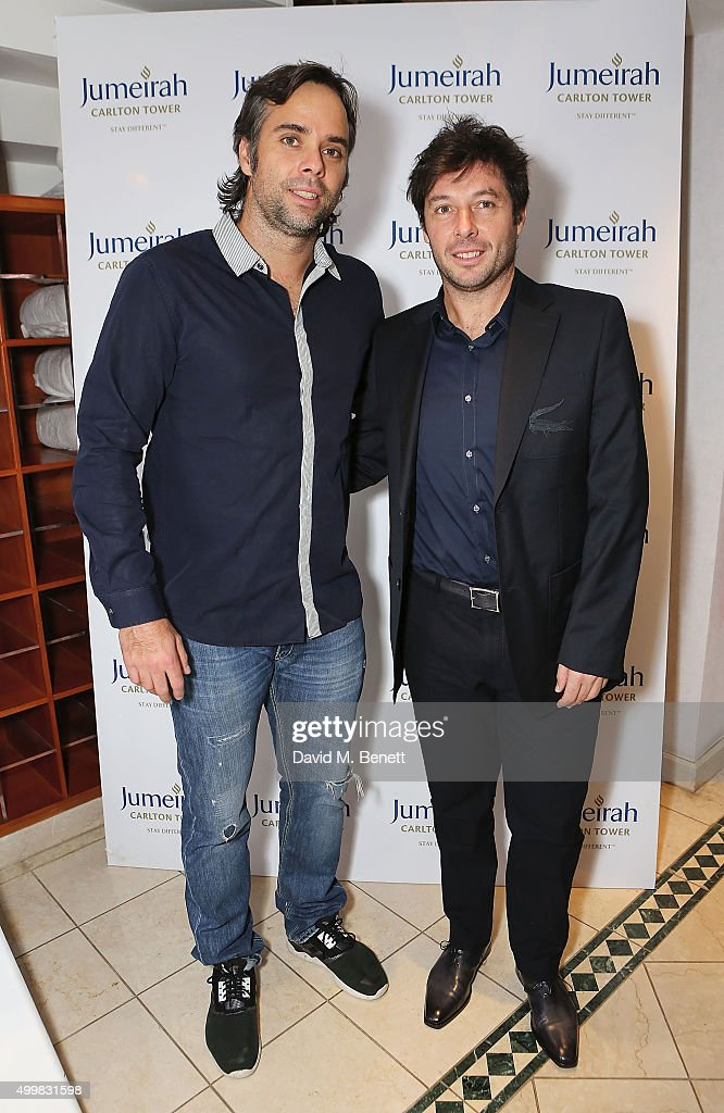 Fernando Gonzalez and Sebastien Grosjean at the Champions Tennis players' party at Jumeirah Carlton Tower on December 3, 2015 in London, England.