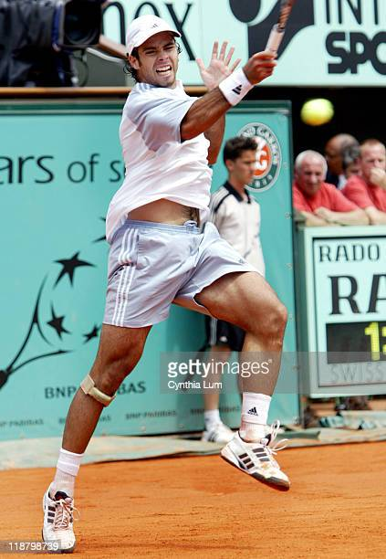 Fernando Gonzalez beats Jarkko Nieminen 6-3, 6-3, 6-2 at the French Open Tennis Championships at the Roland Garros Stadium