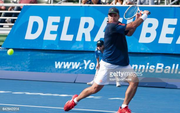 Fernando Gonzalez defeats Mardy Fish during the ATP Masters Tour at the Delray Beach Open on February 18 2017 at Delray Beach Stadium Tennis Center...