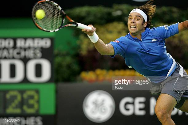 Fernando Gonzalez during his match against Roger Federer in the Men's Single's Final at the 2007 Australian Open at Melbourne Park in Melbourne,...