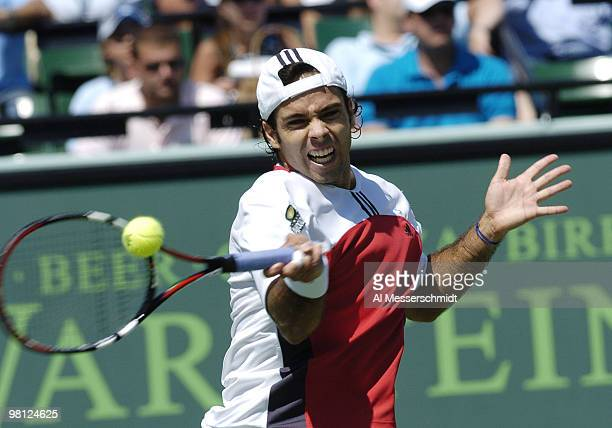 Fernando Gonzalez loses to Guillermo Coria in the semi finals of the NASDAQ 100 open, April 2 Key Biscayne, Florida.