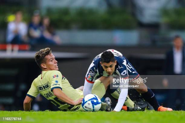 Fernando Gonzalez of America struggles for the ball against Angel Zaldivar of Monterrey during the 1st round match between America and Monterrey as...